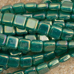 50 CzechMates 6mm Two Hole Tile Beads Atlantis Green Luster Iris (52060LR)