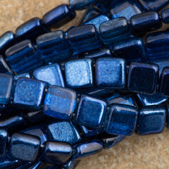 50 CzechMates 6mm Two Hole Tile Beads Mirror Denim (53080K)