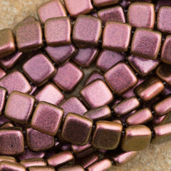 50 CzechMates 6mm Two Hole Tile Beads Polychrome Copper Rose (94100)