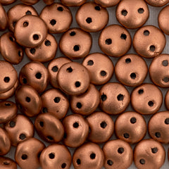 50 CzechMates 6mm Two Hole Lentil Matte Metallic Copper Beads (01770K)