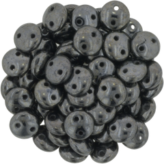 50 CzechMates 6mm Two Hole Lentil Hematite Beads (14400)