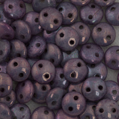 50 CzechMates 6mm Two Hole Lentil Opaque Amethyst Luster Beads (15726P)