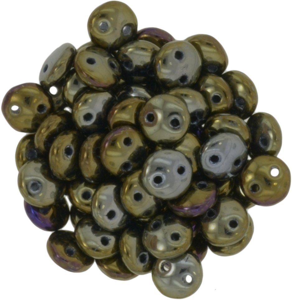 50 CzechMates 6mm Two Hole Lentil Brown Iris Beads (21415)