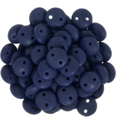 50 CzechMates 6mm Two Hole Lentil Matte Navy Beads (33410M)
