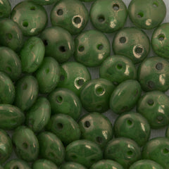50 CzechMates 6mm Two Hole Lentil Spring Green Moon Dust Beads (53200MD)