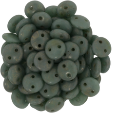 50 CzechMates 6mm Two Hole Lentil Turquoise Copper Picasso Beads (63130CT)