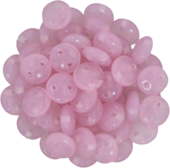 50 CzechMates 6mm Two Hole Lentil Milky Pink Beads (71010)