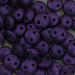 50 CzechMates 6mm Two Hole Lentil Metallic Suede Purple Beads (79021)