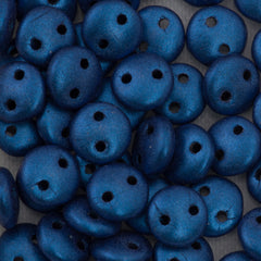 50 CzechMates 6mm Two Hole Lentil Metallic Suede Blue Beads (79031)
