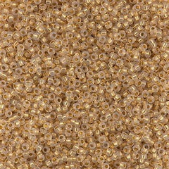 Miyuki Round Seed Bead 15/0 24kt Yellow Gold Lined Crystal Opal 2-inch Tube (196)