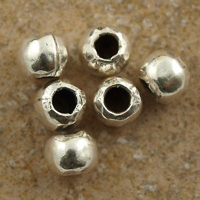 Hill Tribes Silver Rondelle 6x4mm Beads 6 Pack