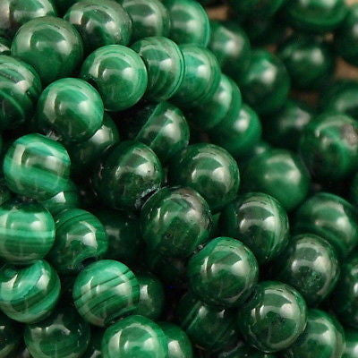"Malachite 4mm Round Bead 16"" Strand"