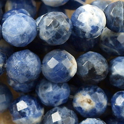 "Sodalite 8mm Faceted Round bead 16"" strand"