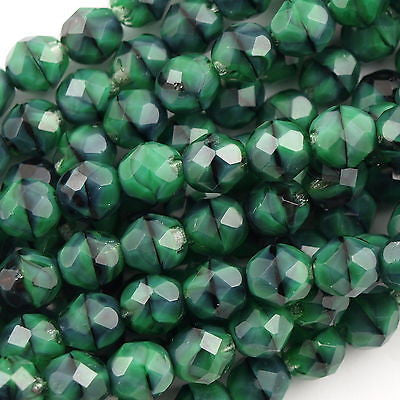 50 Czech Fire Polished 8mm Round Bead Green with Black (26507)