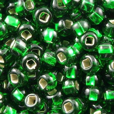 Czech Seed Bead Silver Lined Green 30g 6/0 6-57060