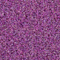 Miyuki Round Seed Bead 15/0 Inside Color Lined Raspberry AB 10g (264)