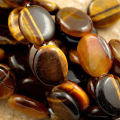 "Tiger's eye 14x12mm Flat Oval Bead 16"" strand"