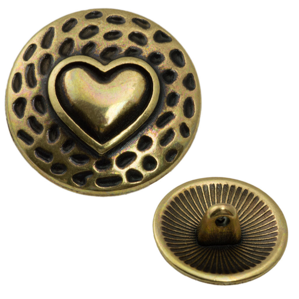 17mm Metal Button Antique Brass Plated Heart Design