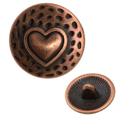 17mm Metal Button Antique Copper Plated Heart Design