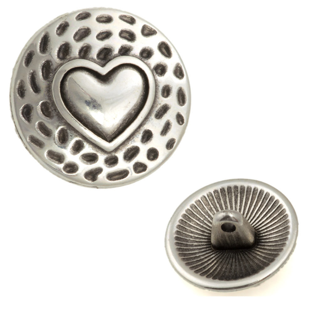 17mm Metal Button Antique Silver Plated Heart Design