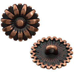 17mm Metal Button Antique Copper Plated Flower Design