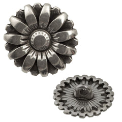 17mm Metal Button Antique Silver Plated Flower Design