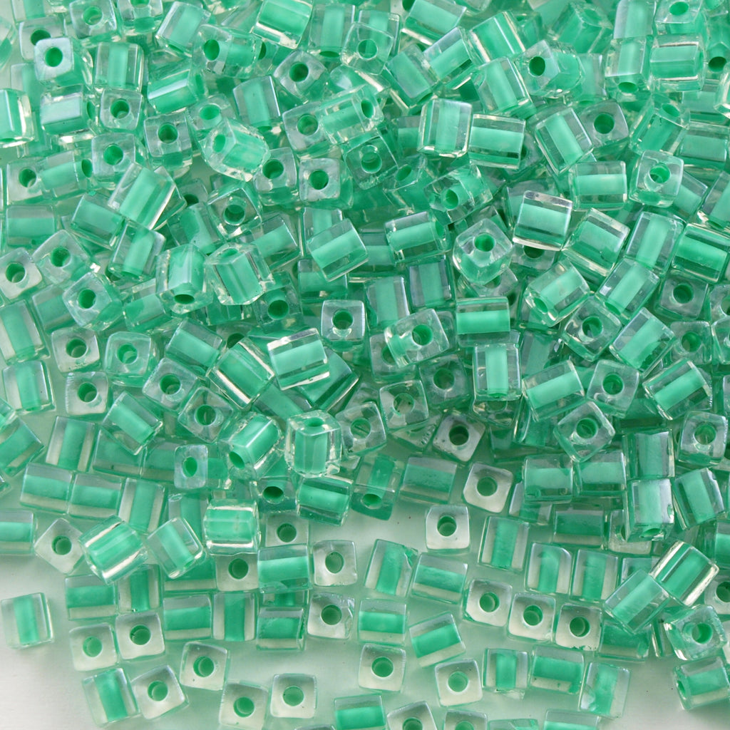 Miyuki 1.8mm Cube Seed Bead Inside Color Lined Aqua Green 8g Tube (219)