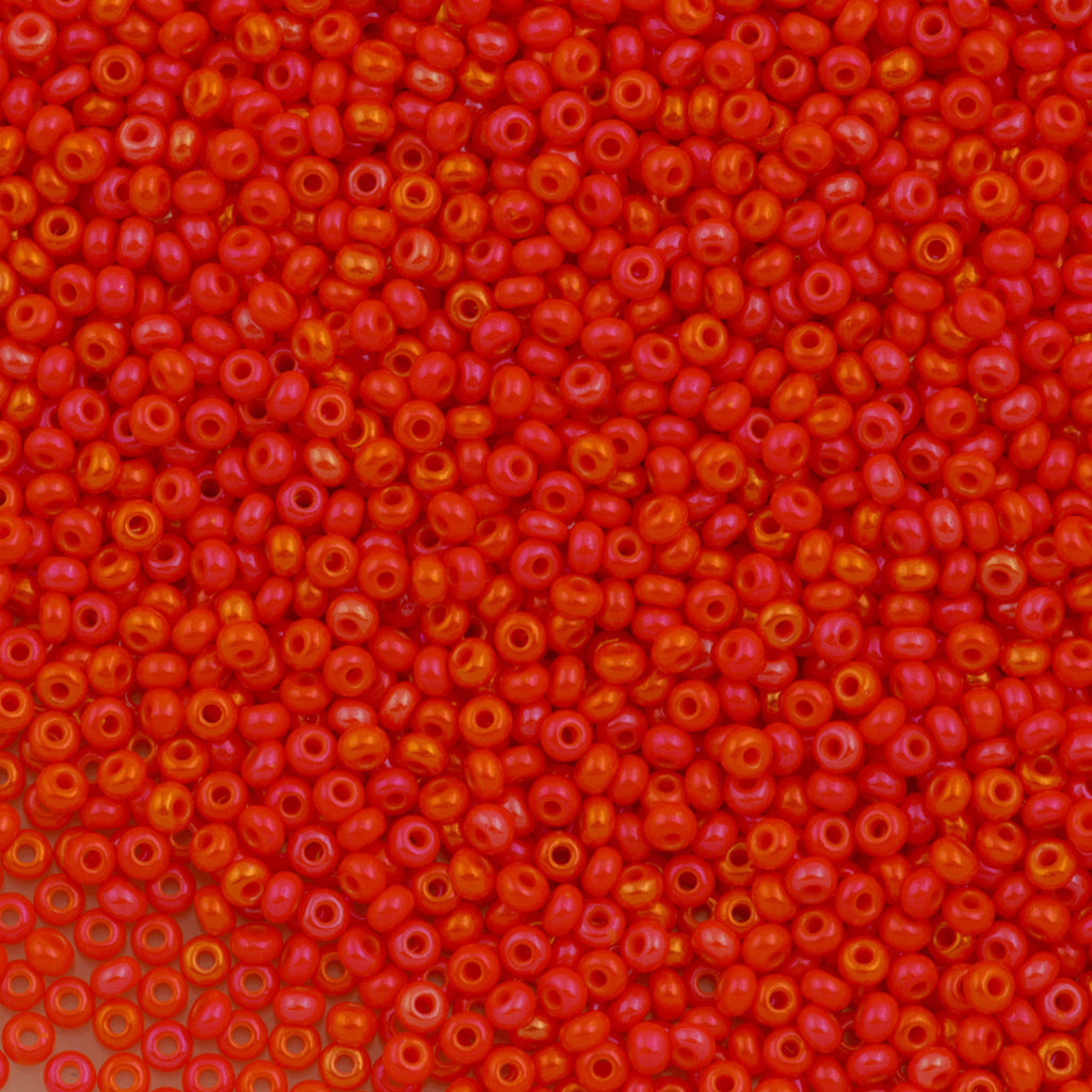 Czech Seed Bead 10/0 Opaque Orange AB 15g (94140)