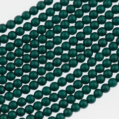100 Czech 3mm Round Matte Teal Glass Pearl Beads