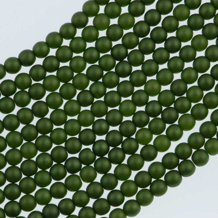 100 Czech 3mm Round Matte Olive Glass Pearl Beads