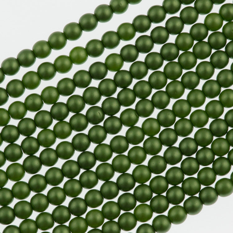 100 Czech 2mm Round Olive Glass Pearl Beads