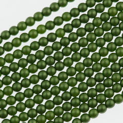 100 Czech 3mm Round Olive Glass Pearl Beads