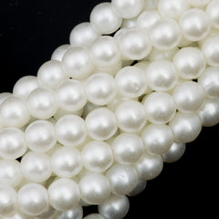 100 Czech 3mm Round Snow Glass Pearl Beads
