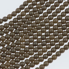 100 Czech 2mm Round Matte Brown Sugar Glass Pearl Beads