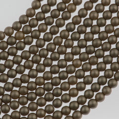 100 Czech 3mm Round Brown Sugar Glass Pearl Beads