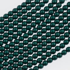 100 Czech 4mm Round Teal Glass Pearl Beads