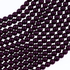 100 Czech 4mm Round Purple Velvet Glass Pearl Beads