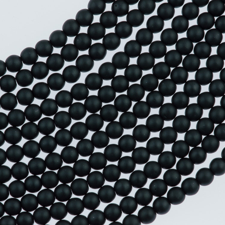 100 Czech 3mm Round Matte Charcoal Glass Pearl Beads