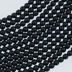 100 Czech 2mm Round Matte Charcoal Glass Pearl Beads