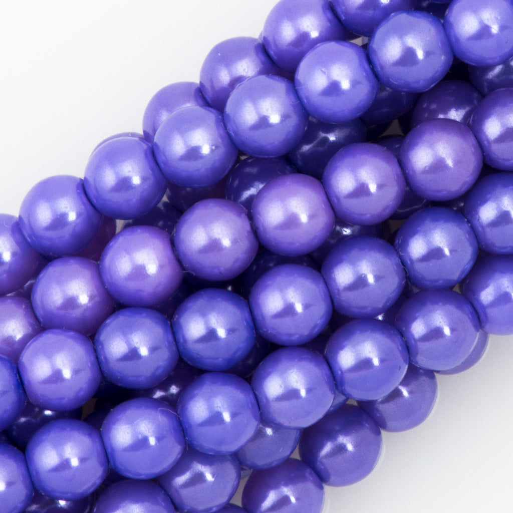 100 Czech 4mm Round Lilac Glass Pearl Coat Beads