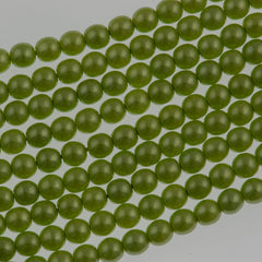 100 Czech 4mm Round Olive Glass Pearl Coat Beads