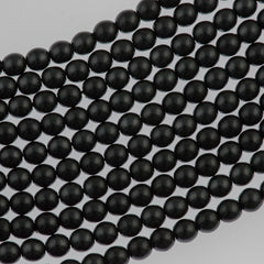 100 Czech 4mm Round Black Glass Pearl Coat Beads