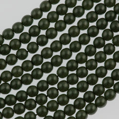 100 Czech 4mm Round Sage Green Glass Pearl Coat Beads