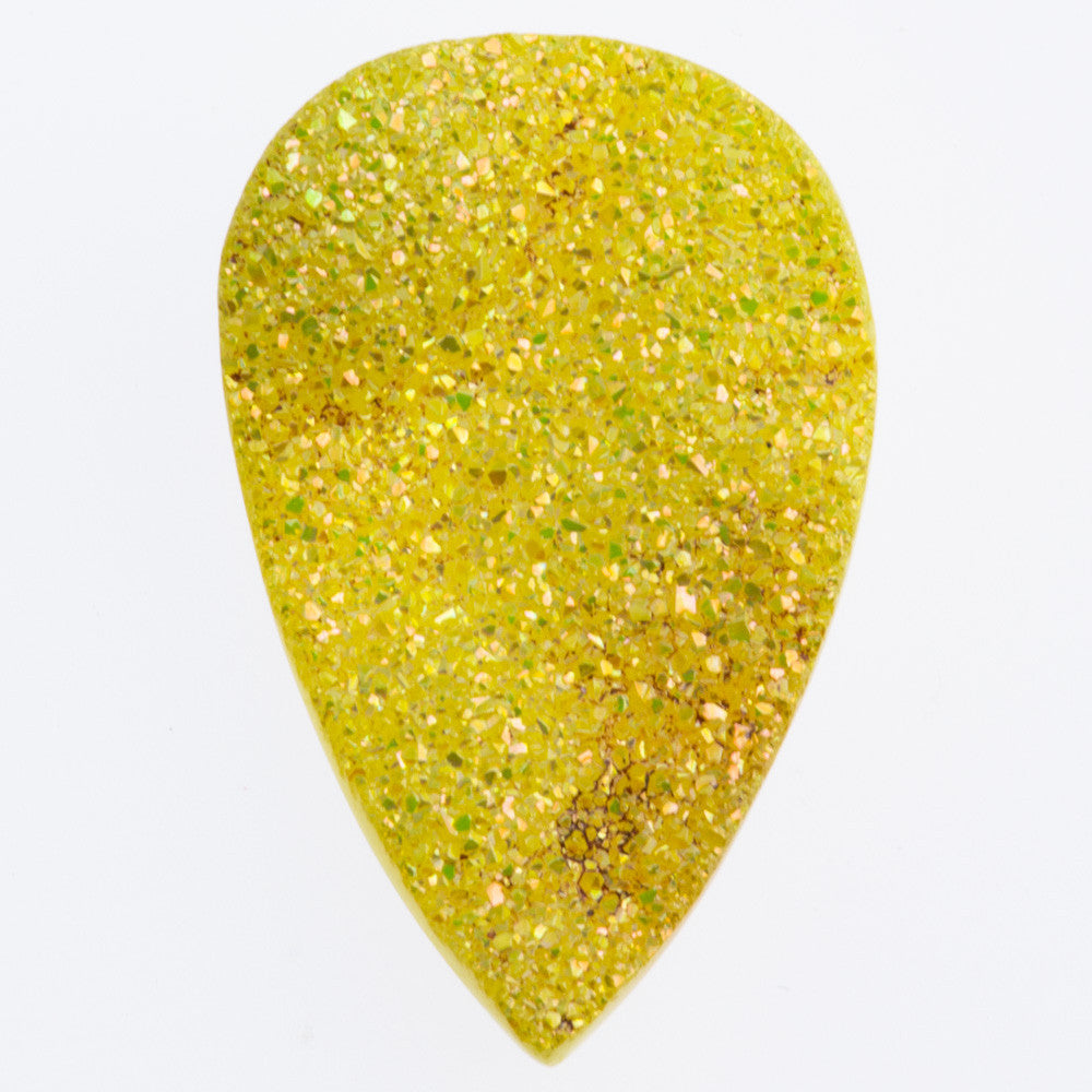 Flat Pear Shape Druzy Dandelion Yellow Cabochon 25x15mm