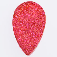 Flat Pear Shape Druzy Chrysanthemum Red Cabochon 22x14mm