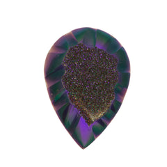 Dark Violet Blush Aura Carved Window Druzy Pear Shape Cabochon 25x18x6mm