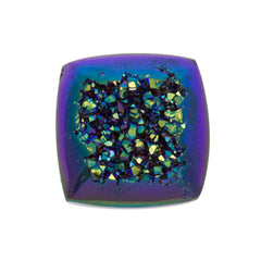 Cassiopeia Seas Aura Carved Window Druzy Cushion Square Cabochon 14x6mm