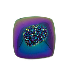 Cassiopeia Seas Aura Carved Window Druzy Cushion Square Cabochon 14x7mm