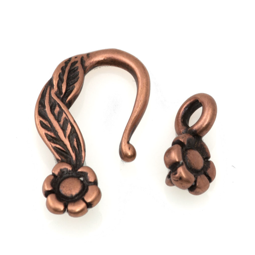 28mm Antique Copper Plated Flower Design Hook and Eye Clasp
