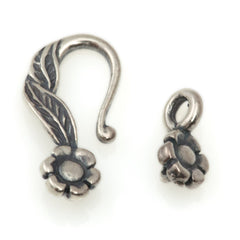27mm Antique Silver Plated Flower Design Hook and Eye Clasp
